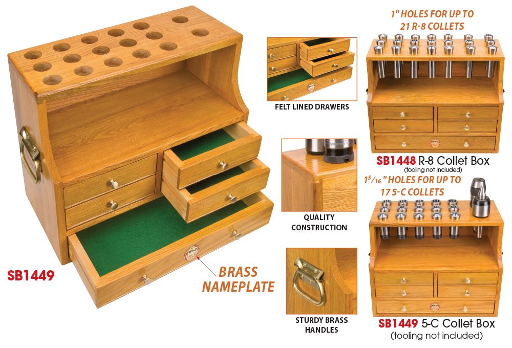 Made Of Heavy Duty Oak, These Unique Collet Storage Cabinets Were Designed  By South Bend To Complement A Well Organized Shop. Five Felt Lined Drawers  Can ...